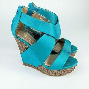 """BCBG Paris """"Rando"""" wedge platform sandal teal"""